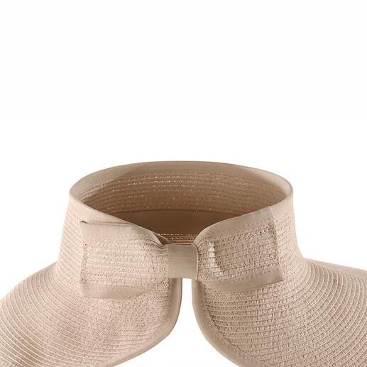 Unter der eleganten Schleife verbirgt sich ein Klettverschluss, mit dem Sie die Kopfweite passgenau variieren können.
