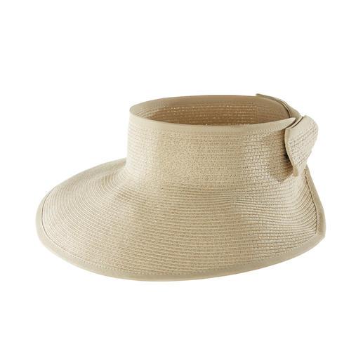 Großer Sonnenschutz – handlich klein verstaut. Das flexible Sonnenschild aus feiner Papierborte. Von Loevenich, Huthandwerk seit 1960.