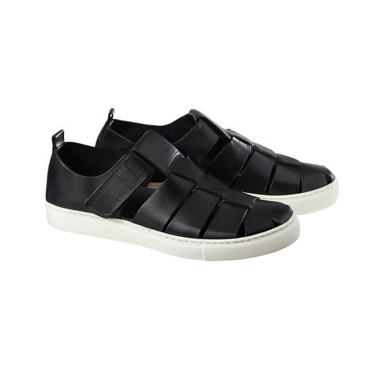 Luftige Sandalen-Form. Bequeme Sneaker-Sohle. Und Top-Qualität made in Italy. Die moderne Sneaker-Sandale: Luftige Sandalen-Form. Bequeme Sneaker-Sohle. Und Top-Qualität made in Italy.