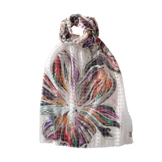 Karo-Blütenschal Leichter Sommerschal aus Baumwolle und Seide.