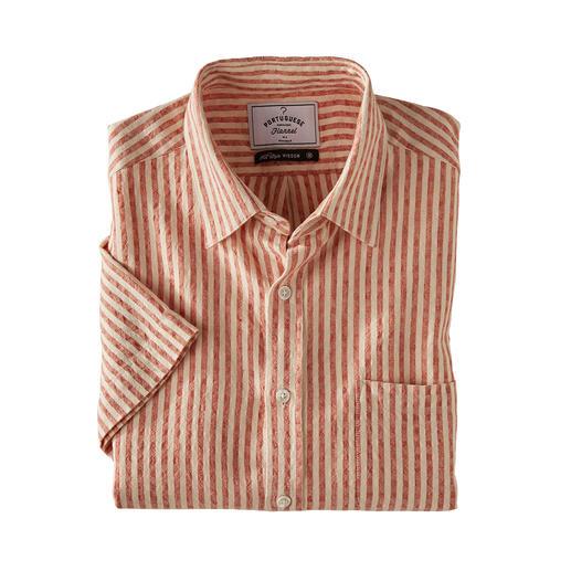 Oxford-Seersucker-Hemd Das Seersucker-Hemd aus Leinen und Baumwolle. Ein luftigeres Kurzarm-Hemd werden Sie kaum finden.