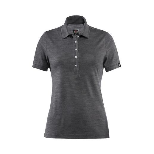 Reda Rewoolution Damen-Poloshirt, Grau Merino-Wolle: Kratzfrei. Seidig. Und mit allen Vorteilen, die Sie von High-Performance-Shirts erwarten.
