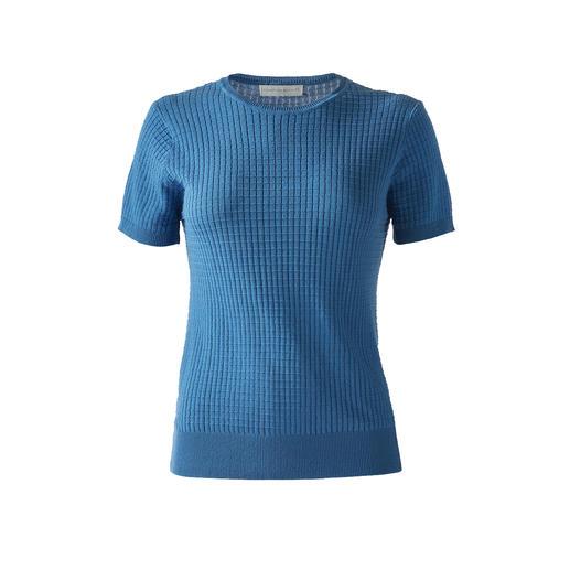 Die besten Basics halten länger: das Strick-Shirt aus seltener Mako-Baumwolle. Die besten Basics halten länger: das Strick-Shirt aus seltener Mako-Baumwolle.