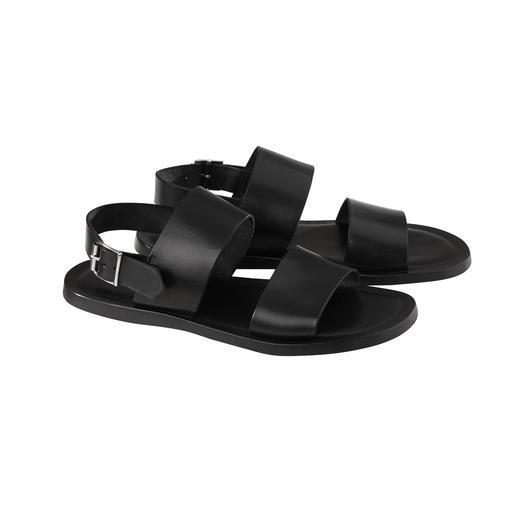 Die Ledersandale made in Italy zum vernünftigen Preis. Softes Kalbleder. Nahtlos eingearbeitetes Stoßdämpfer-Fußbett. Verstellbarer Fersenriemen.