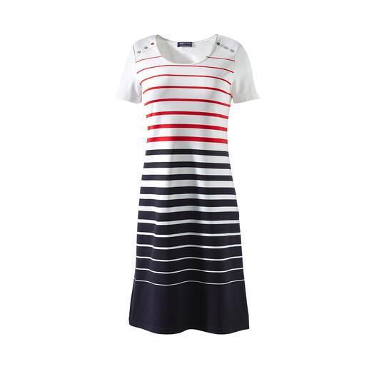 Das Bretagne-Kleid 2.0 von Saint James: Eleganter, unkomplizierter und strapazierfähiger. Aus feinem Meryl®-Mikrofasergewebe.