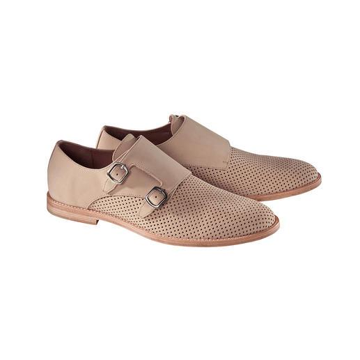 Der seltene Sommer-Monk aus perforiertem Nubuk. Mit haltbar durchgenähter Laufsohle. Korrekt wie ein Business-Schuh, luftig wie eine Sandale.