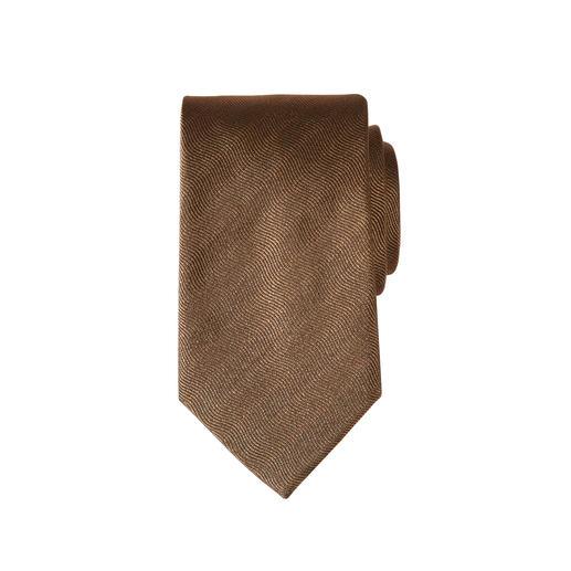 Die Seidenkrawatte mit plastischem Wellen-Relief. Peppiger als andere Uni-Krawatten. Und unempfindlicher.