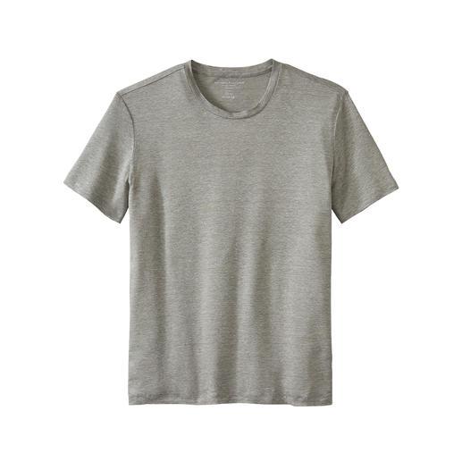Leinen-Seiden-T-Shirt Kühl und trocken dank Leinen, sanft und weich dank Seide. Von Majestic Filatures, Paris.