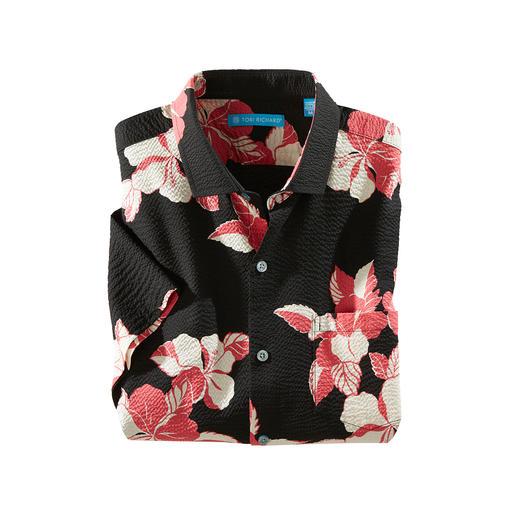 Jetzt noch luftiger: das original Aloha-Hemd aus gekrepptem Baumwoll-Stoff. Sieht cool aus. Und hält erfrischend kühl. Made in Hawaii von Tori Richard.