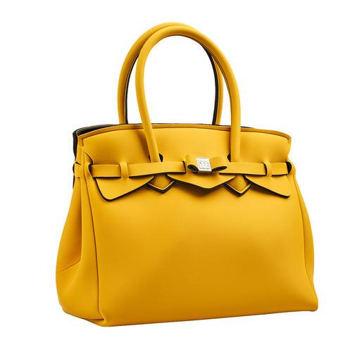 Klassische Form, innovatives Material, modisches Dessin: Diese ultraleichte Handtasche wiegt nur 380 Gramm. Klassische Form, innovatives Material, modisches Dessin: Diese ultraleichte Handtasche wiegt nur 380 Gramm.