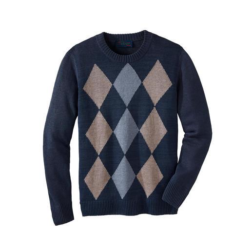 Leinen-Rauten-Pullover Luftig. Bequem. Knitterarm. Made in Ireland von Edelstricker Carbery, seit 1886.