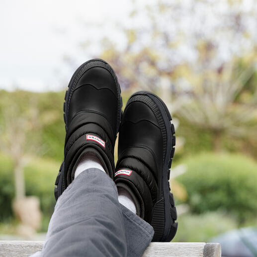 Hunter Puffer-Boots, Herren Duck-Schuh, Puffa-Style, Neopren, Sneaker-Sohle – 4 Trendelemente in einem Schuh, dabei 100 % schlechtwettertauglich.