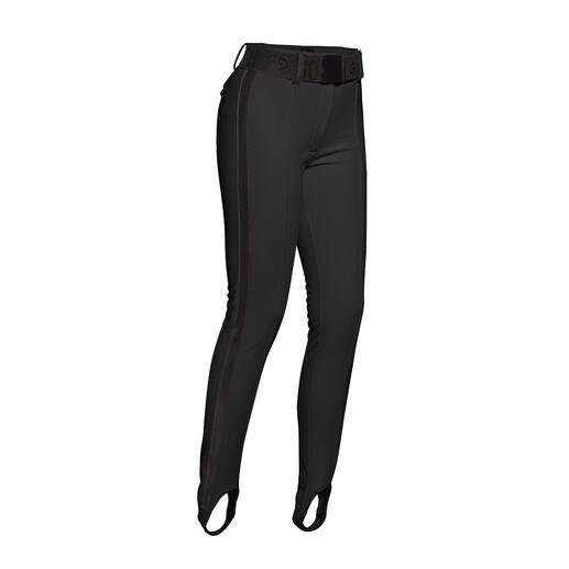 Die selten schlanke Ski- und Stiefel-Hose aus Softshell. Sportliche Streetwear oder stylishe Sportswear? Beides! Vom niederländischen Fashion-Press-Liebling Goldbergh.