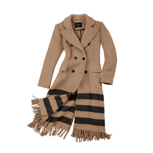 Seventy Venezia Camel-Coat Fashion-Fresh-up für den klassischen Camel-Coat: Blazer-Form. Streifen. Fransen.