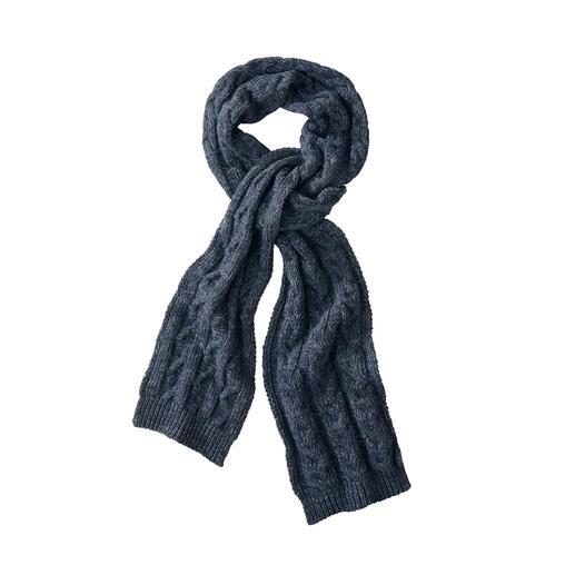 Mütze und Schal im angesagten Denim-Look aus Recycling-Fasern gestrickt. Von Blue Loop Originals/Niederlande.