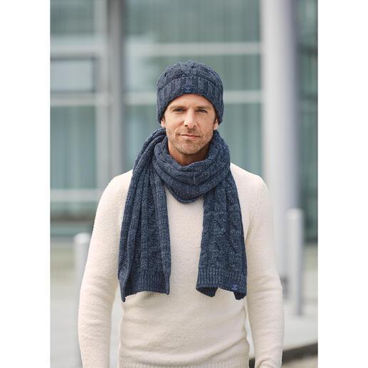 Blue Loop Originals Schal oder Mütze Im angesagten Denim-Look aus Recycling-Fasern gestrickt.