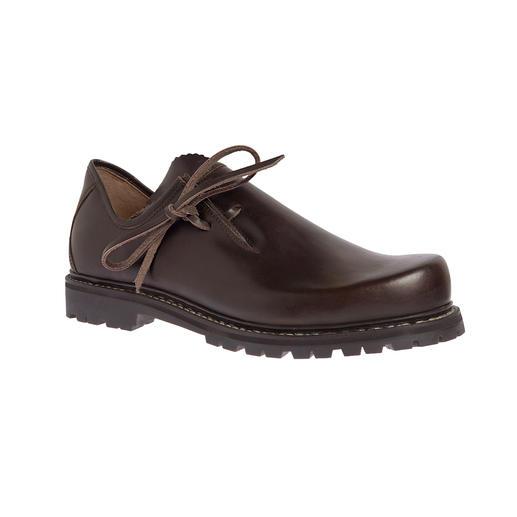 Der original Haferl-Schuh für Herren: fast unverändert seit 1803, aber mit neuer, leichter Vibram®-Gummisohle. Traditionell zwiegenäht: wasserfest und unglaublich robust.