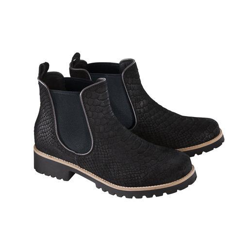 Modische Chelsea-Boots - so bequem und leicht wie Pantoffeln. Modische Chelsea-Boots - so bequem und leicht wie Pantoffeln. Mit stoßdämpfender Hightech-Sohle und trendiger Reptilien-Optik.