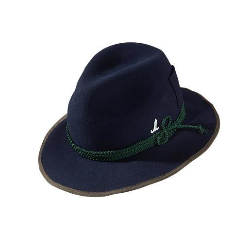 Der elegante, vielseitige Hut für jeden Tag:  Leichter Wollfilz. Breite Krempe. Traveller-Form. Handgefertigt in Österreich für Sie und Ihn. Von Mühlbauer, Wiener Hutmanufaktur seit 1903.
