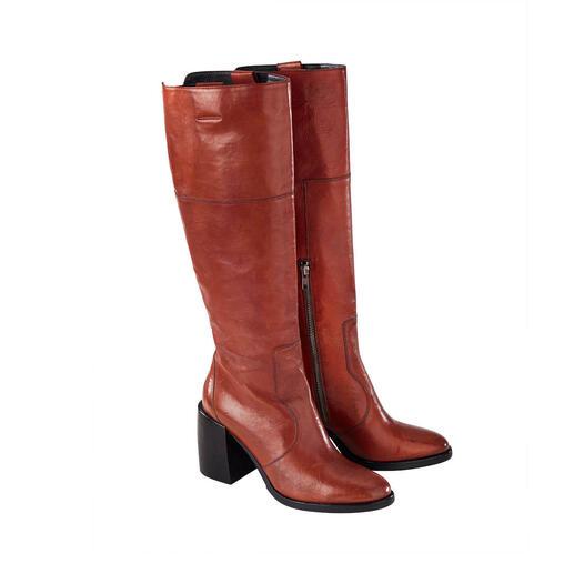 Der topmodische Stiefel aus traditioneller Handarbeit. Von Ducanero®. Aktuelle Schafthöhe und Absatz-Form. Angesagter Vintage-Look.