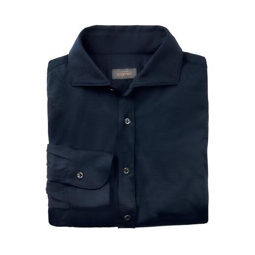Edward Copper Woll-Jersey-Hemd Elegant wie ein Business-Hemd. Wärmend wie ein Feinstrick-Pulli. Bequem wie ein T-Shirt.