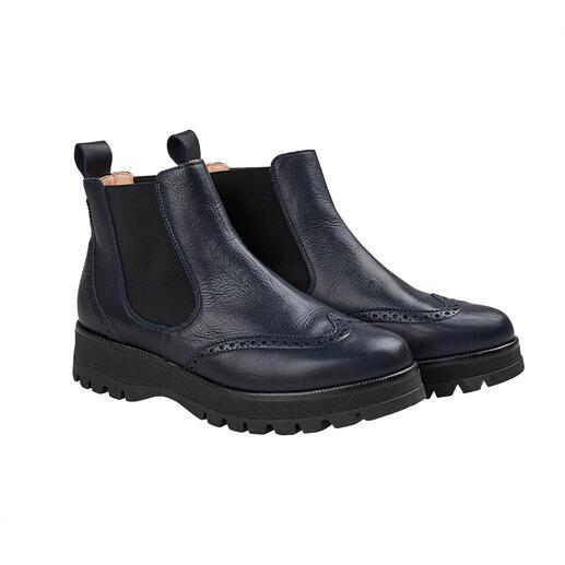 Die Chelsea Boots mit Budapester-Lochung vom deutschen Schuh-Spezialisten Werner. Modisch wichtige Form. Super softes Leder. Leichte, isolierende TPR-Sohle.