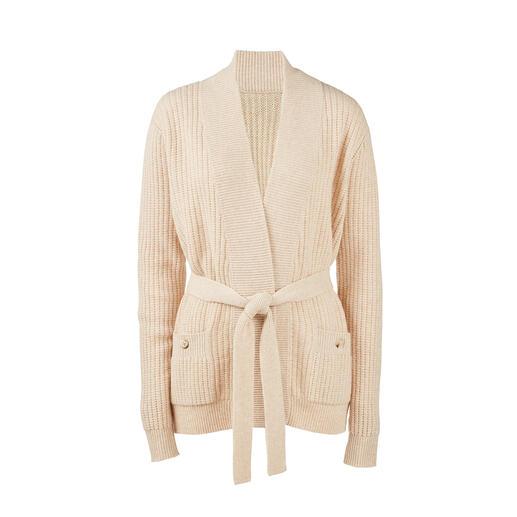 Rippstrick-Jacke mit Bindegürtel Die flache, feminine unter den modischen Rippstrick-Jacken. Veredelt mit Kaschmir.