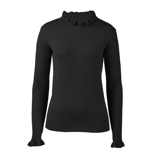 Der modische Pullover für weit mehr als eine Saison. Rüschen, Mustermix, Schwarz: 3 Trends – und doch nie zu plakativ.
