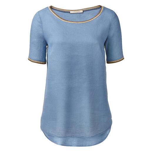 Das Basic-Shirt aus reinem Leinen. Von La Fée Maraboutée. Luftig-leicht wie eine Tunika. Feminin-elegant wie eine Bluse. Unkompliziert wie ein T-Shirt.