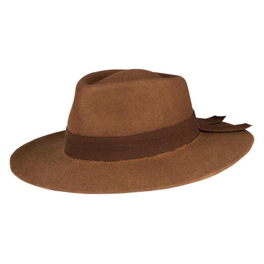 Der von Hand gefilzte Alpaka-Hut. Viel leichter, weicher und wärmer als übliche Wollhüte.