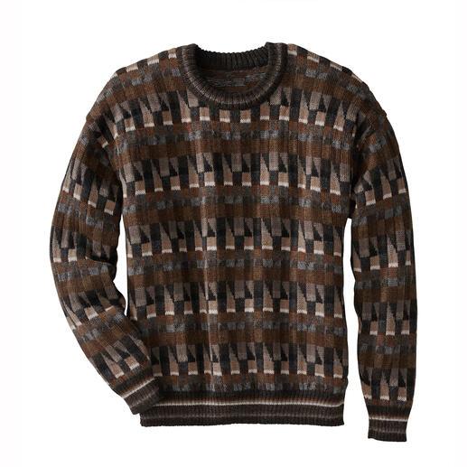 Der Alpaka-Pullover mit gestricktem Jacquard-Mosaik-Muster Das Kunstwerk aus den Anden. 100 % Alpaka. Handgefertigt in 11 gedeckten Farben.