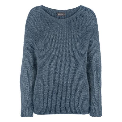 Der ungewöhnlich edle Naturfaser-Pullover aus Mohair, Giza-Baumwolle und Seide. Kein Vergleich zu den üblichen Synthetik-Beimischungen. Made in Germany von Seldom.