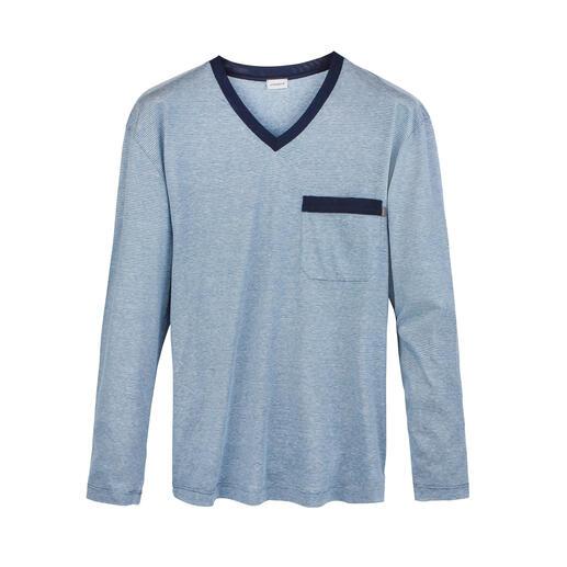 Der Edel-Pyjama von Zimmerli, seit 1871. Pima-Baumwolle aus den USA. Seide aus China. Leinen aus Belgien. Fertigung in der Schweiz.