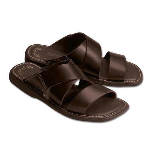 Bequeme Herren-Pantoletten Komfortables Leder und natürliches Latex lassen Ihre Füße entspannen.