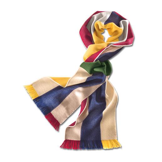 Johnstons Regenbogen-Schal Ein bunter Schal – unzählige Kombinationen. Aus extrafeiner Merinowolle. Weich, leicht, wärmend.
