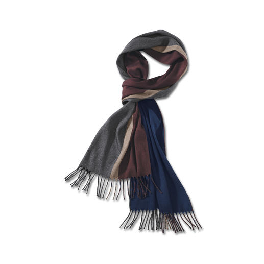 Kaschmir/Seide-Wendeschal Die gedeckten Farben harmonieren mit all Ihren Jacken und Mänteln – perfekt auf Reisen. Von Piacenza/Italien.