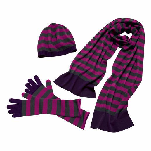 30 Gauge-Doppel-Schal, -Beanie-Mütze oder -Stulpenhandschuhe - Feinere Strickaccessoires werden Sie kaum finden. 30 Gauge-Merino-Feinstrick, ganz ohne störende Nähte.