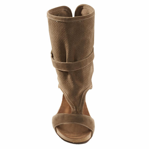 Scholl Gladiatoren-Sandalette, Taupe - Hochmodische High-Heels – aber erstaunlich bequem und komfortabel. Von Scholl, Spezialist für gesunde Füße.