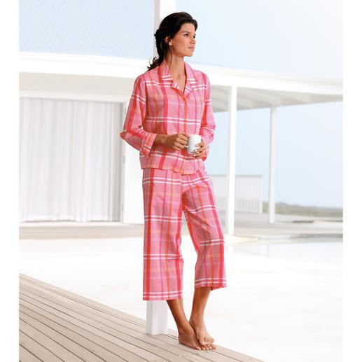 NOVILA Karo-Pyjama, Orange/Pink - Der Karo-Pyjama in Pink, Orange, Rosa. Aus hochwertigem italienischen Batist.