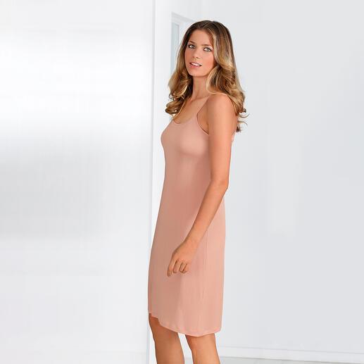 Das bequem-elastische Unterkleid aus reiner Seide. Sieht viel besser aus und ist angenehmer und luftiger als Synthetik.
