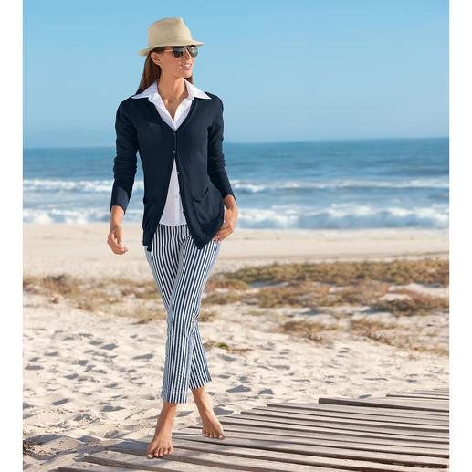 Seersucker-Hose Blue Stripes Die perfekte Sommerhose: Luftig leichtes Seersucker-Gewebe – aber elegant genug fürs Büro.
