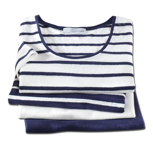 Knitted linen-Marine-T-Shirt Außergewöhnlich gut, und doch selten zu finden: Ein T-Shirt aus gestricktem Leinen.