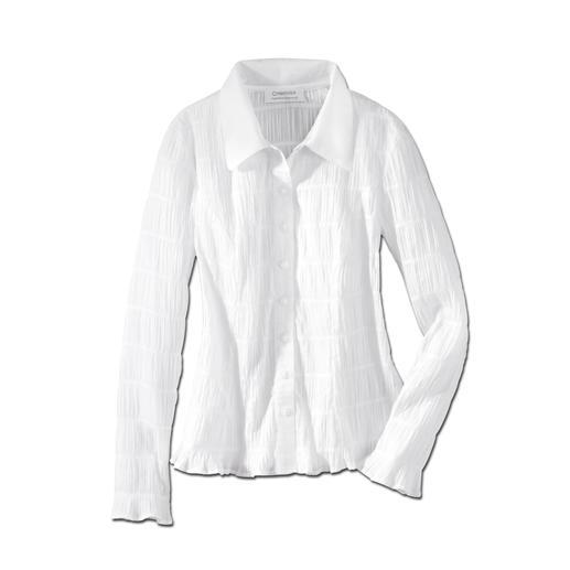 Crash: die wohl unkomplizierteste weiße Bluse, die Sie je hatten. Crash: die wohl unkomplizierteste weiße Bluse, die Sie je hatten. Bequem elastisch und immer in Bestform.