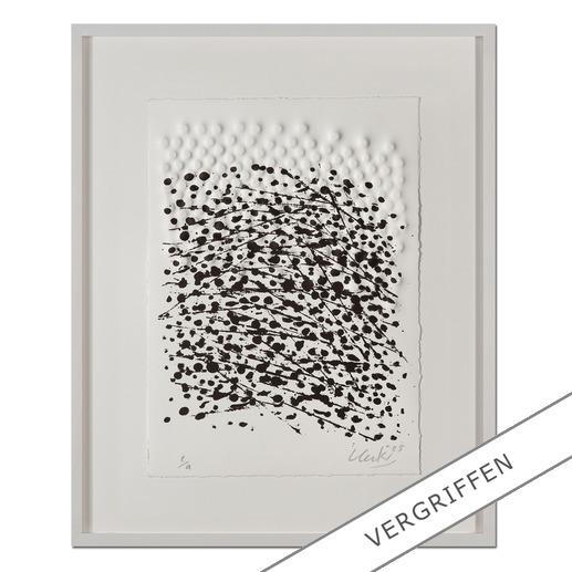 """Günther Uecker: """"Strömung I"""", 2005 - Prägedruck mit Lithografie auf 300-g-Büttenpapier  Auflage: 99 Exemplare   Exemplar: e. a.  Blattgröße (B x H): 28 x 38 cm   Größe mit Rahmung: 43 x 53 cm"""
