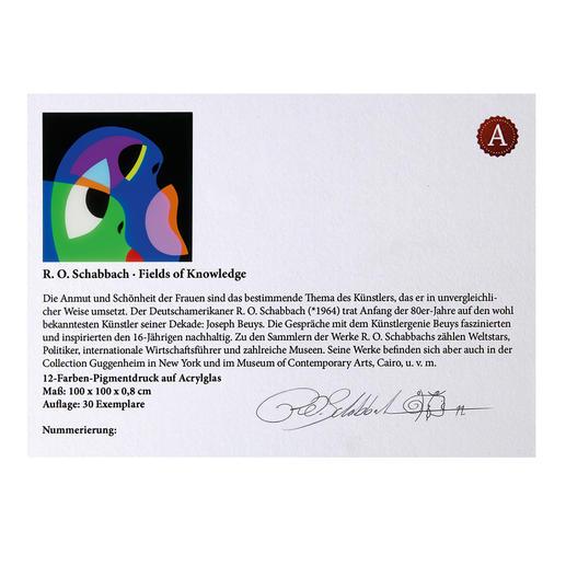 Aufkleber mit Nummerierung, Signatur und handgemachter Lackstift-Zeichnung des Künstlers auf der Rückseite des Werkes.