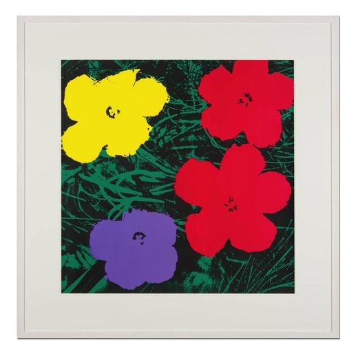 Andy Warhol – Flowers grün - Sunday B. Morning Siebdruck auf 1,52 mm starkem Museumskarton. Maße: gerahmt 112 x 112 cm