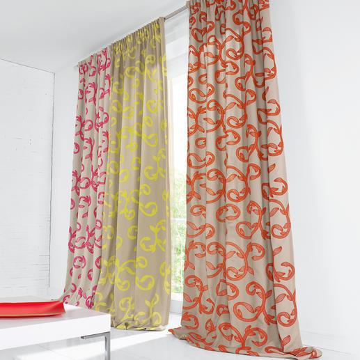 """Vorhang """"Summerlove"""", 1 Vorhang - Trend-Thema Neonfarben – aber geschmackvoll und zeitlos klassisch verewigt."""