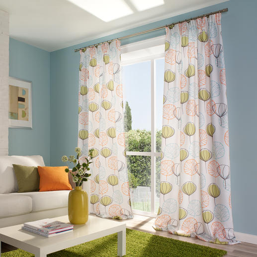 """Vorhang """"Leaf"""", 1 Vorhang - Unter den neuen bunten Frühjahrs-Stoffen war dies der Publikums-Magnet auf der Heimtextil 2013."""