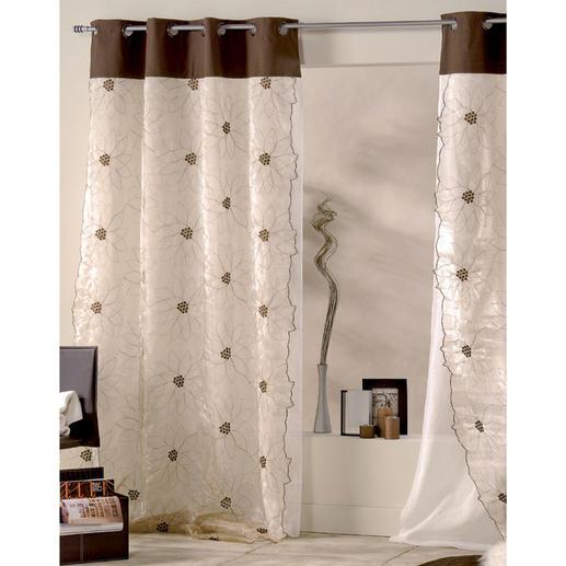 """Vorhang """"Lotus"""", 1 Vorhang - Auf diesem golden schimmernden Doppelvorhang entfaltet die Lotusblüte ihre ganze Pracht."""