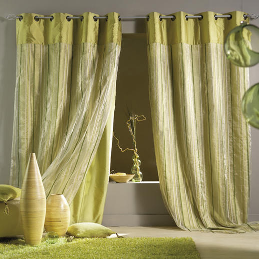 """Vorhang """"Le Trio"""", 1 Vorhang - 3 Grün-Töne und kühl knisternder Taft – Frühlingsfrische in ihrer ganzen Pracht!"""